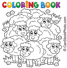Coloring book sheep theme 2 - eps10 vector illustration.