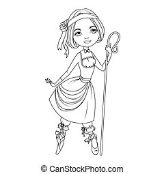 Coloring book: Shepherdess character