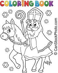 Coloring book Sinterklaas on horse