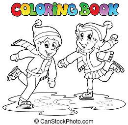Coloring book skating boy and girl
