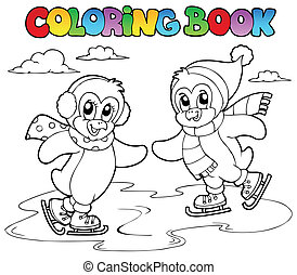 Coloring book skating penguins - vector illustration.