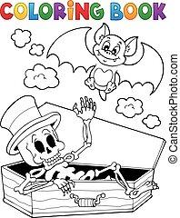 Coloring book skeleton and bat - eps10 vector illustration.