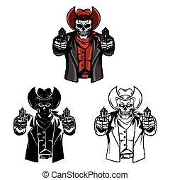 Coloring book Skull Cowb character
