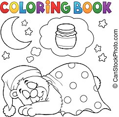 Coloring book sleeping bear theme 1 - eps10 vector...