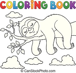 Coloring book sleeping sloth theme 1 - eps10 vector illustration.