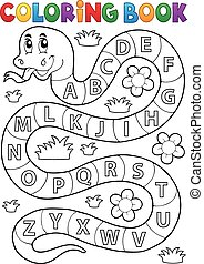 Coloring book snake with alphabet theme