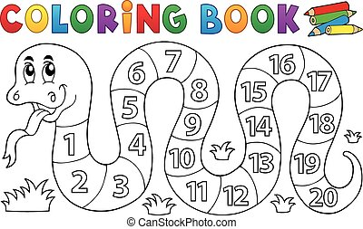 Coloring book snake with numbers theme - eps10 vector...