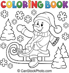 Coloring book snowman on sledge theme 1