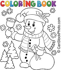 Coloring book snowman topic 3