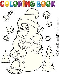 Coloring book snowman topic 5
