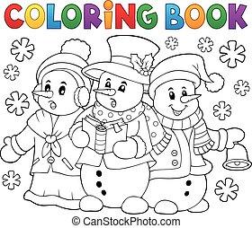 Coloring book snowmen carol singers - eps10 vector...