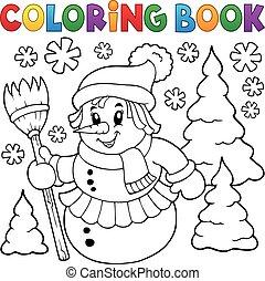 Coloring book snowwoman topic 1