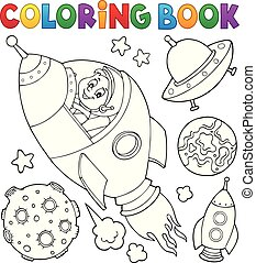 Coloring book space topic collection 1