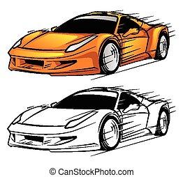 Coloring book Sport Car character