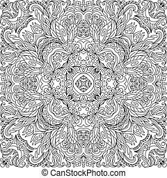 Coloring book square page for adults - floral authentic carpet design, joy to older children and adult colorists, who like line art and creation, vector illustration