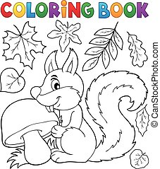Coloring book squirrel theme 2 - eps10 vector illustration.