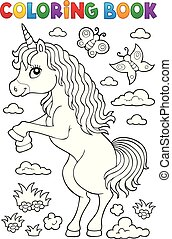 Coloring book standing unicorn theme 1