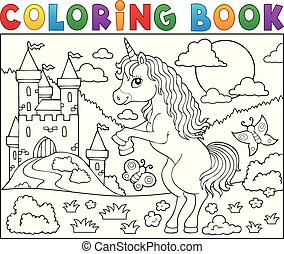 Coloring book standing unicorn theme 2