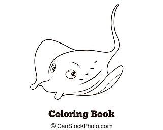 Coloring book stingray cartoon educational