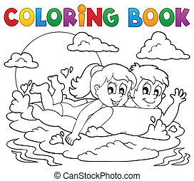 Coloring book summer activity 1 - eps10 vector illustration.