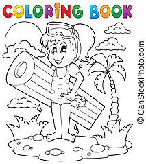 Coloring book summer activity 2 - eps10 vector illustration.