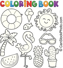 Coloring book summer theme collection 1