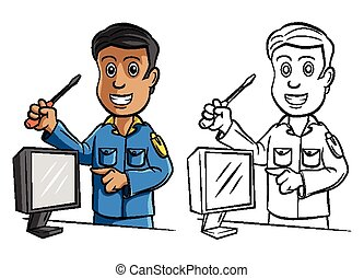 Coloring book Technician character