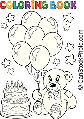Coloring book teddy bear theme 4 - eps10 vector...