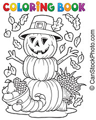 Coloring book Thanksgiving image 4 - eps10 vector...