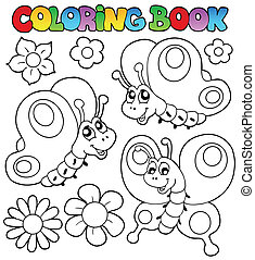 Coloring book three butterflies - vector illustration.