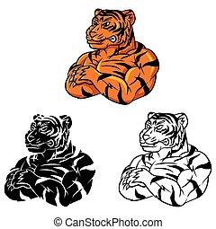Coloring book Tiger Strong caracter