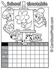 Coloring book timetable topic 1