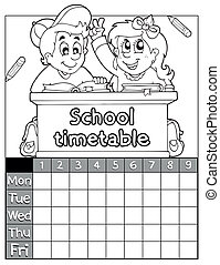 Coloring book timetable topic 2