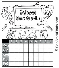 Coloring book timetable topic 3