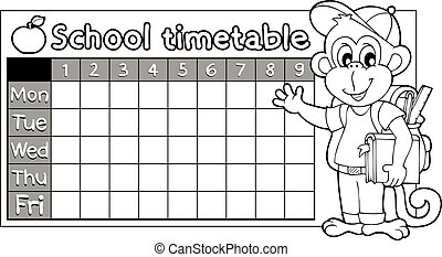 Coloring book timetable topic 6 - eps10 vector illustration.