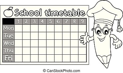 Coloring book timetable topic 7 - eps10 vector illustration.