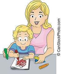 Coloring Book Toddler - Illustration of a Caucasian Mom...