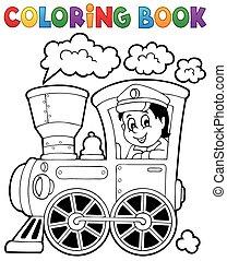 Coloring book train theme 1