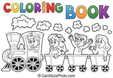 Coloring book train theme 2