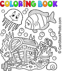 Coloring book treasure chest underwater - eps10 vector...