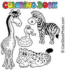 Coloring book tropical animals 1 - vector illustration.