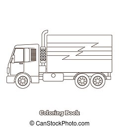 Coloring book truck vector illustration