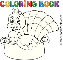 Coloring book turkey bird in pan theme 1