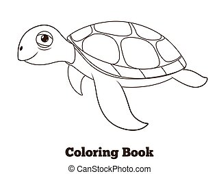 Coloring book turtle sea animal illustration