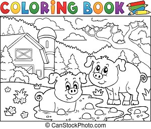 Coloring book two pigs near farm - eps10 vector...