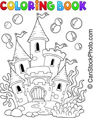 Coloring book underwater castle illustration.