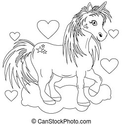 coloring book unicorn with hearts and cloud