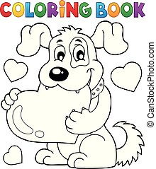 Coloring book Valentine dog theme 1