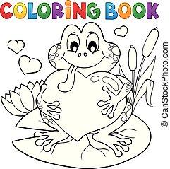 Coloring book Valentine frog