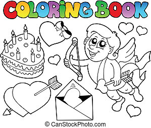 Coloring book Valentine theme 4 - vector illustration.